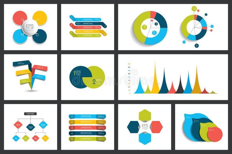 套infographics元素图,图表,圈子图,图,讲话起泡 舱内甲板和3D设计 库存例证