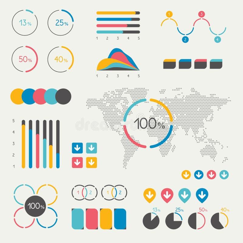 套infographics元素 图,图表,时间安排,讲话泡影,圆形统计图表,地图 库存例证