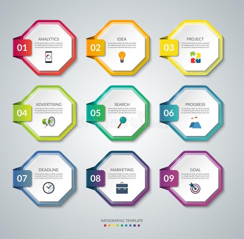 套infographics的9个八角形物元素 五颜六色的向量横幅 向量例证