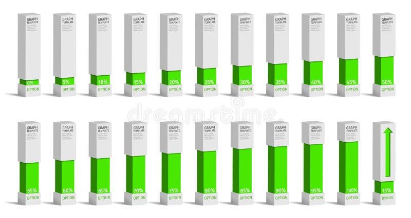 套infographics的绿色百分比图, 0 5 10 15 20 25 30 35 40 库存例证