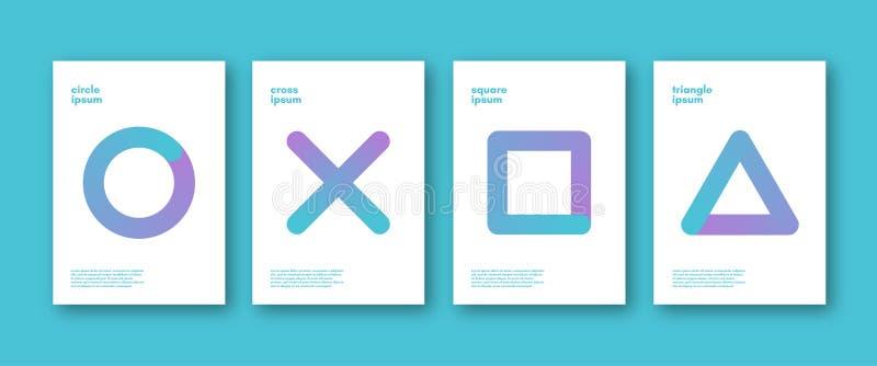 套minimalistic简单的形状背景 抽象单色传染媒介盖子 皇族释放例证