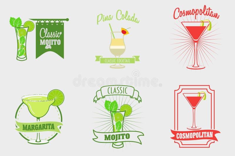 套mojito、玛格丽塔酒、pina colada和世界性鸡尾酒商标,标签 向量例证