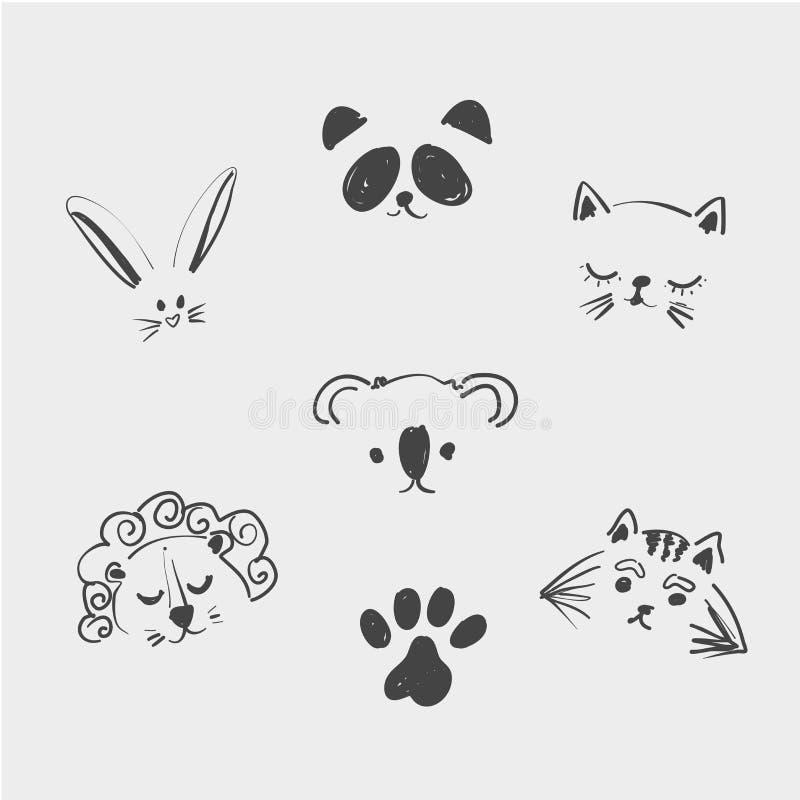 套T恤杉的逗人喜爱的动物面孔,笔记本,卡片,织品,时尚设计 与a的时髦传染媒介例证图画 库存例证