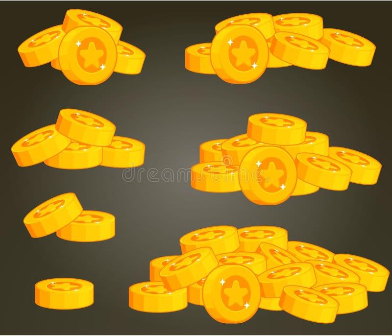 套UI的硬币堆 向量例证