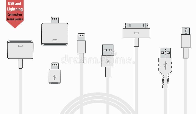 套usb和闪电接口电缆 皇族释放例证