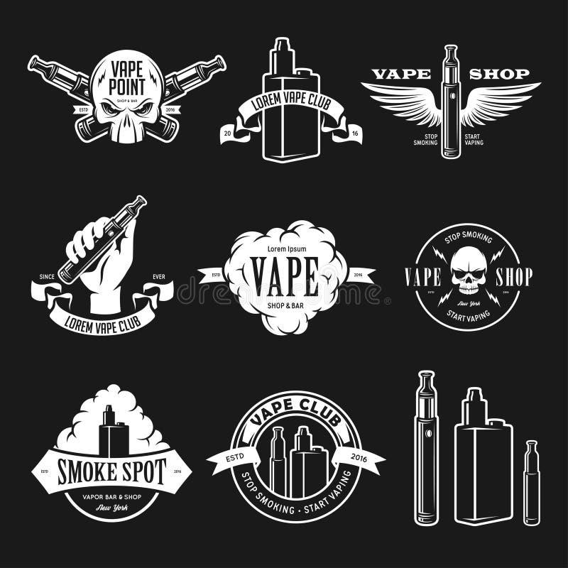 套vape, e香烟象征,标签、印刷品和商标 也corel凹道例证向量 向量例证