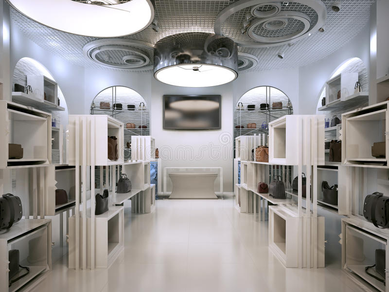奢侈品商店室内设计与Contem提示的艺术装饰样式  皇族释放例证