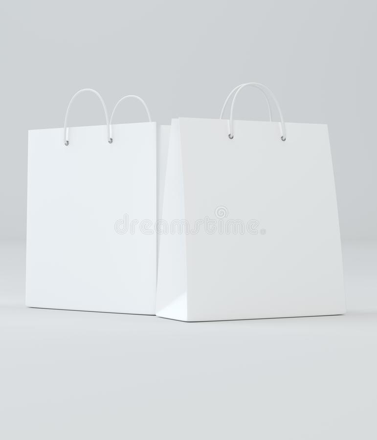 奢侈品商店的白色纸袋 模板准备好您的设计 3d例证 库存例证