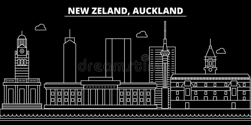 奥克兰剪影地平线 新西兰-奥克兰传染媒介城市,新西兰线性建筑学 奥克兰旅行 向量例证