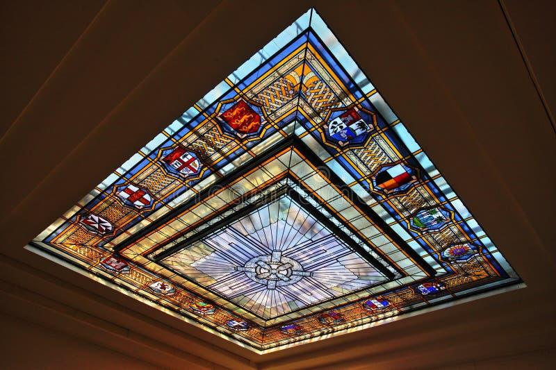 奥克兰战争纪念建筑博物馆彩色玻璃 库存图片