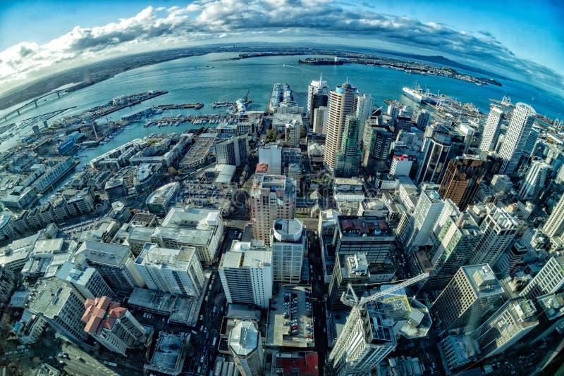 奥克兰新西兰鸟瞰图全景都市风景 免版税图库摄影