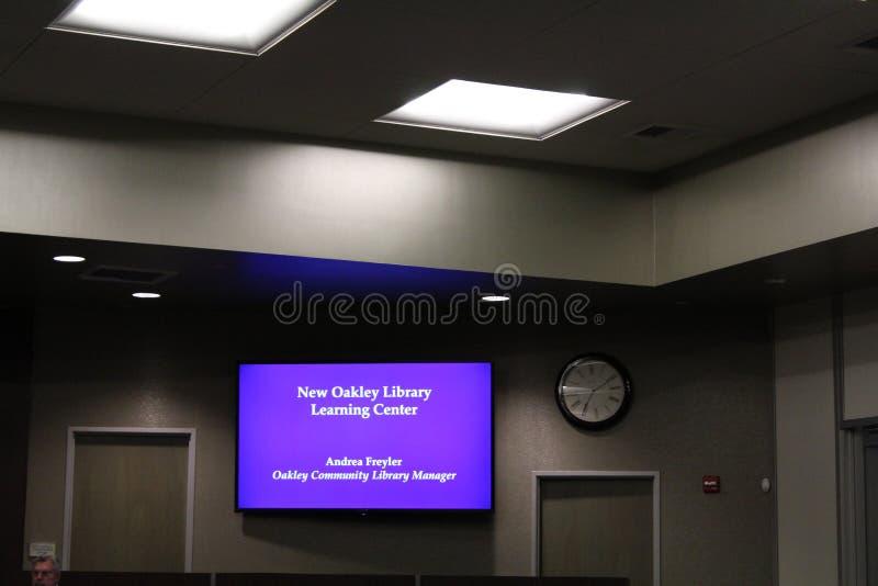 奥克利市议会取缔医疗大麻耕种AB266并且计划图书馆 免版税库存图片