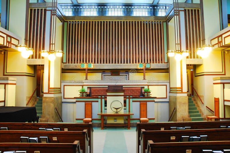 奥克帕克团结教会的内部 免版税库存照片