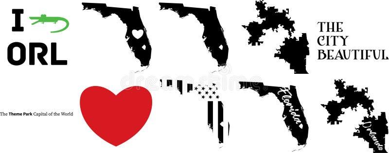 奥兰多佛罗里达美国地图美丽的城市 库存例证