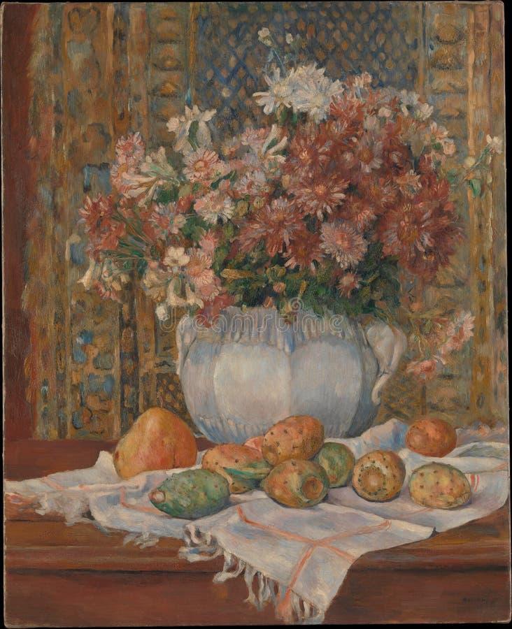 奥古斯特雷诺阿-与花和仙人球的寂静的生活 库存照片