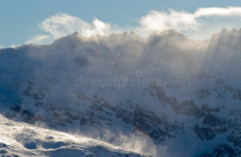 奥地利冷山多雪的冬天 图库摄影