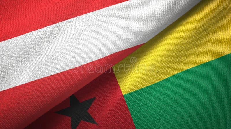 奥地利和几内亚比绍两旗子纺织品布料,织品纹理 向量例证