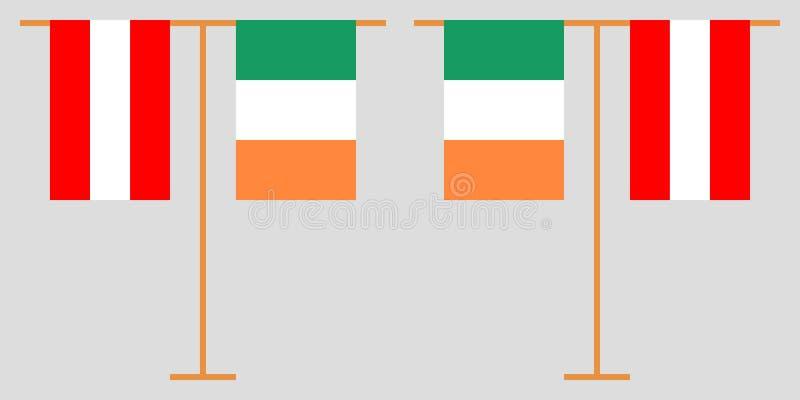 奥地利和爱尔兰垂直的旗子 向量例证