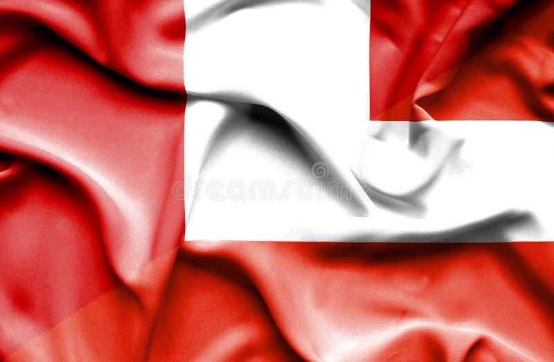 奥地利和秘鲁的挥动的旗子 皇族释放例证