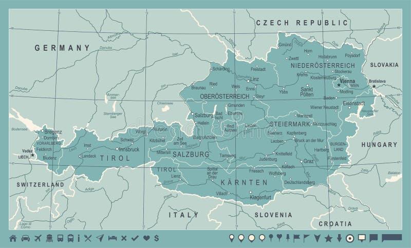 奥地利地图-葡萄酒传染媒介例证图片