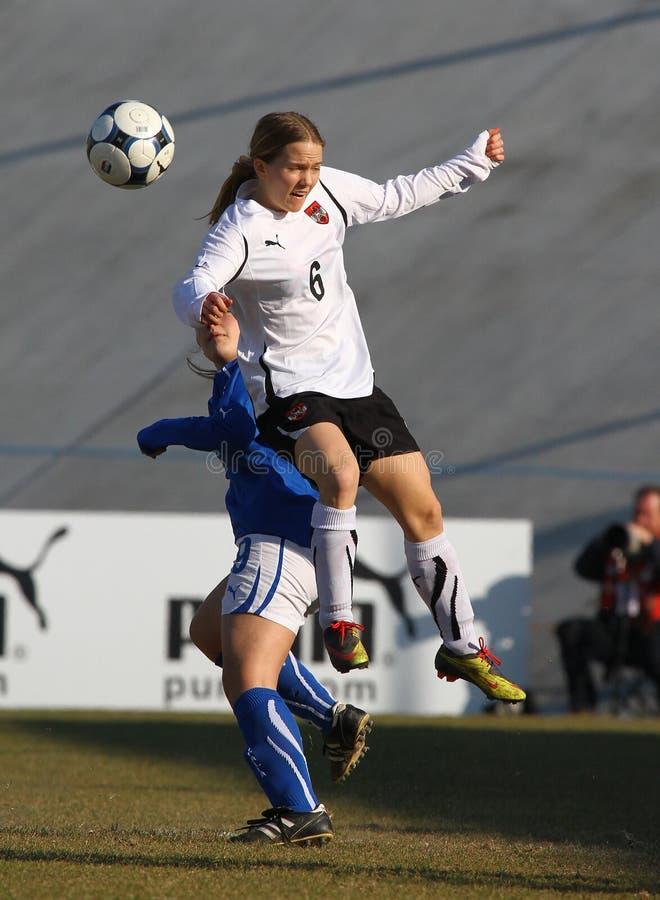 奥地利女性友好意大利符合足球u19 免版税库存照片