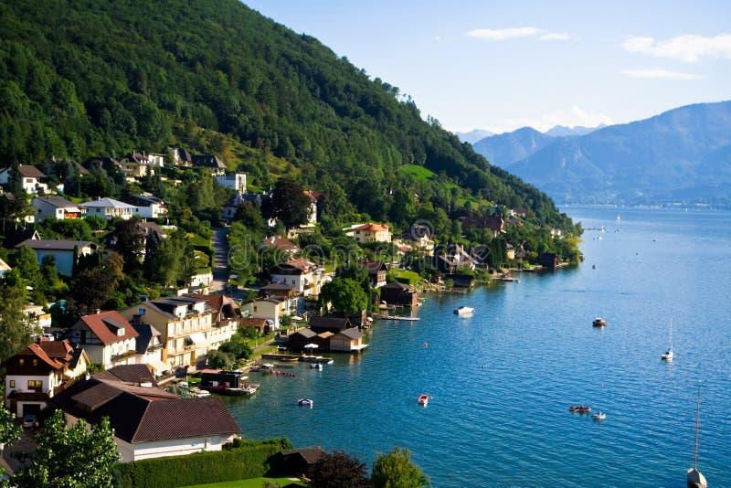 奥地利市gmunden湖traunsee 免版税图库摄影