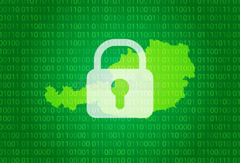 奥地利映射 例证有锁和二进制编码背景 阻拦的互联网,病毒攻击,保密性保护 皇族释放例证
