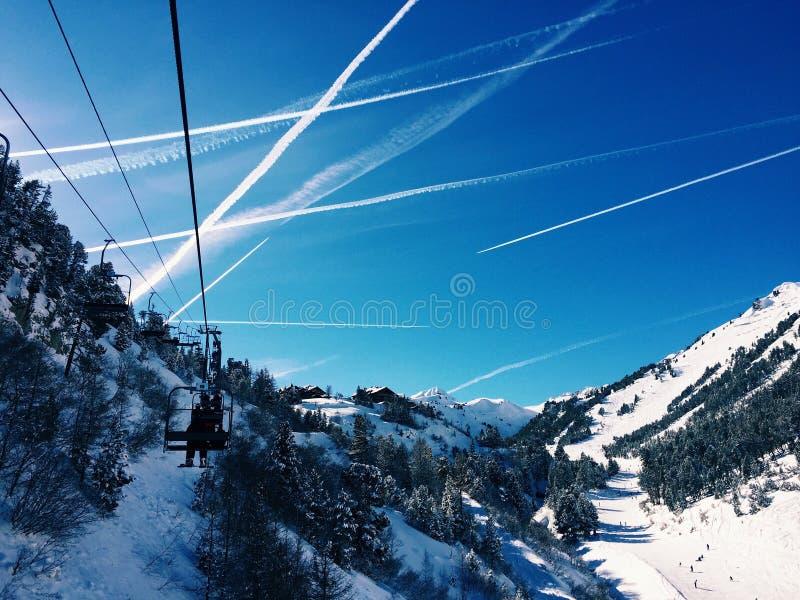 奥地利滑雪滑雪电缆车 免版税图库摄影