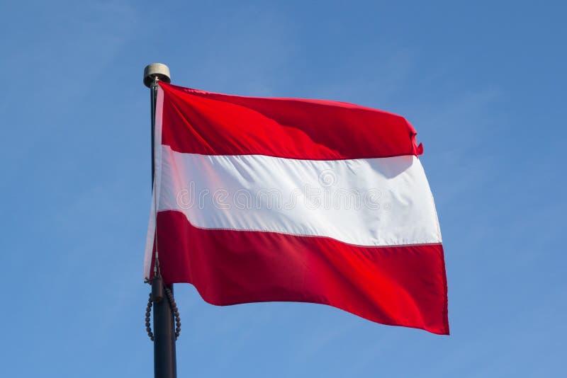 奥地利的旗子反对有风蓝天的 库存图片