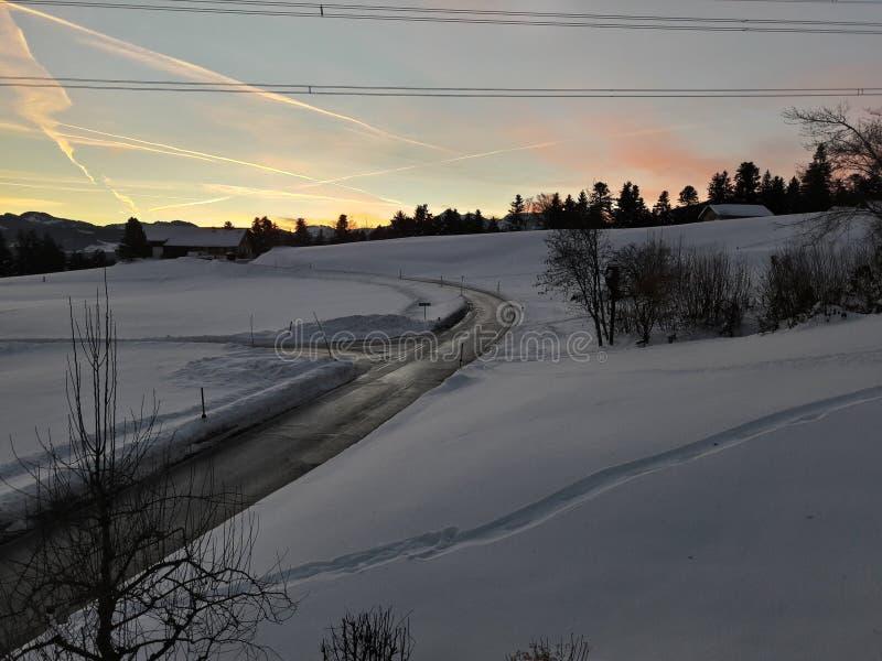 从奥地利的美好的斯诺伊风景 免版税库存图片