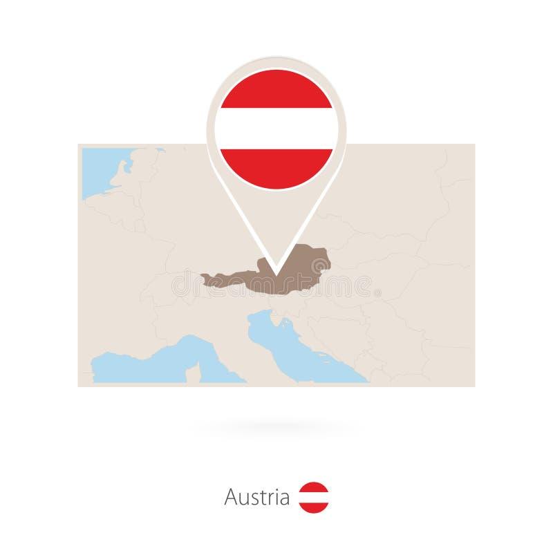 奥地利的长方形地图有奥地利的别针象的 皇族释放例证