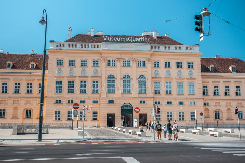 奥地利维也纳 — 19 08 2018:博物馆是维也纳的一个大区,是世界第八大文化区 免版税库存照片