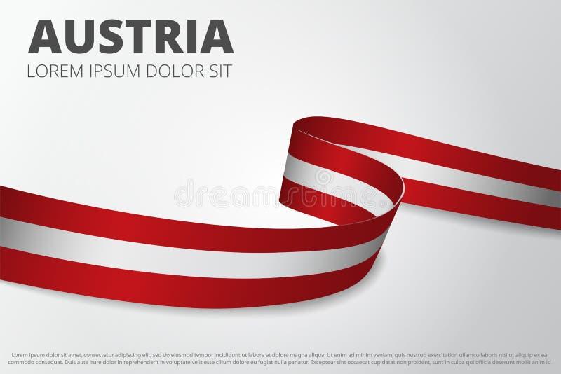 奥地利背景旗子  奥地利丝带 卡布局设计 也corel凹道例证向量 库存例证