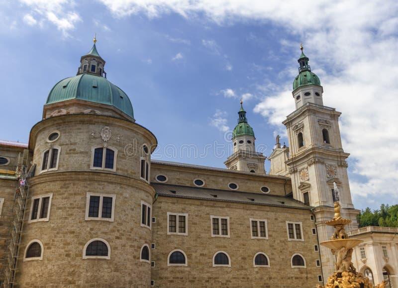 奥地利萨尔茨堡老城主教座堂 库存照片