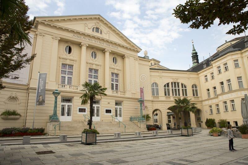 奥地利,在维也纳Baden邶维恩,市政剧院附近的Baden, 免版税库存图片