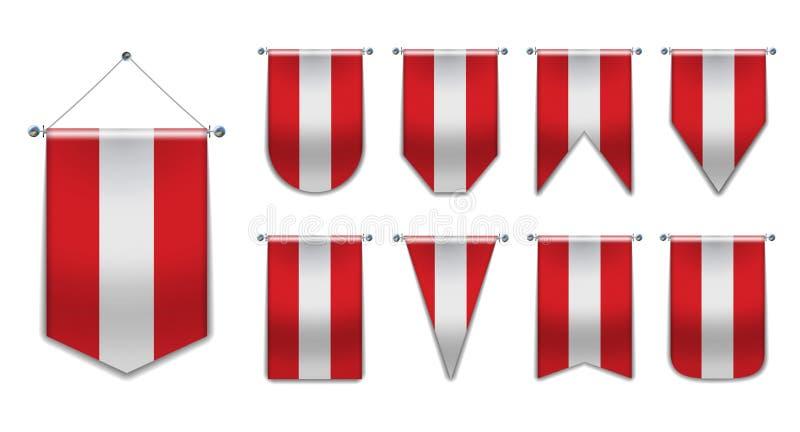 奥地利 奥地利的垂悬的旗子的集合变化形状 与纹理的模板信号旗任意全国横幅 可实现 库存例证