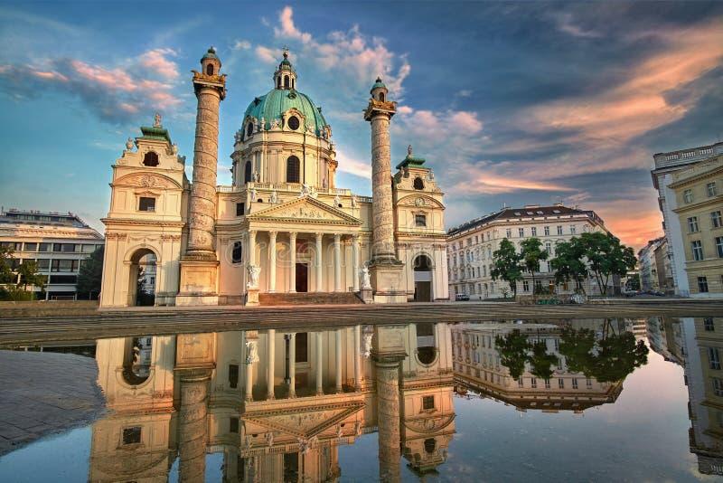 奥地利karlskirche维也纳 圣查尔斯的教会 免版税库存照片
