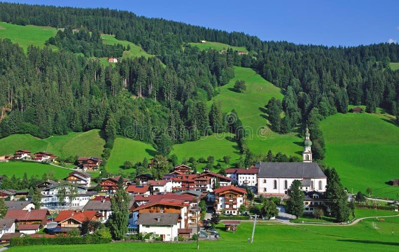 奥地利oberau提洛尔wildschonau 免版税库存图片