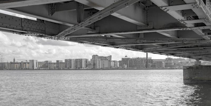 奥尔堡新的港口前面  免版税库存照片