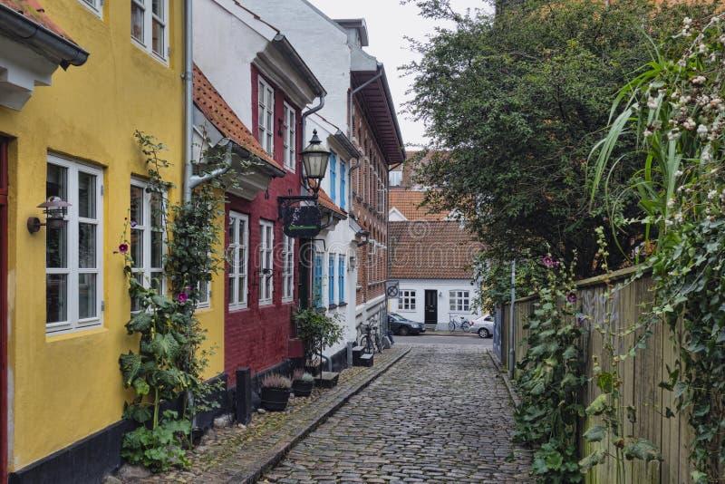 奥尔堡,丹麦,缩小的街道 免版税库存图片
