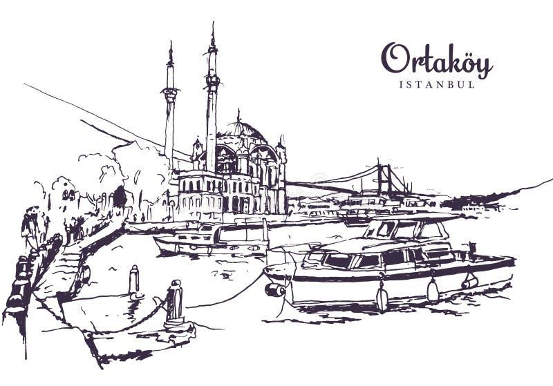 奥尔塔科伊清真寺素描 皇族释放例证