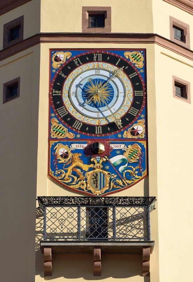 奥尔德敦霍尔阿尔特斯Rathaus大厦建筑细节在莱比锡,德国 免版税库存照片
