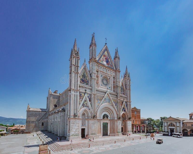 奥尔维耶托大教堂外视图在奥尔维耶托,意大利 免版税库存图片