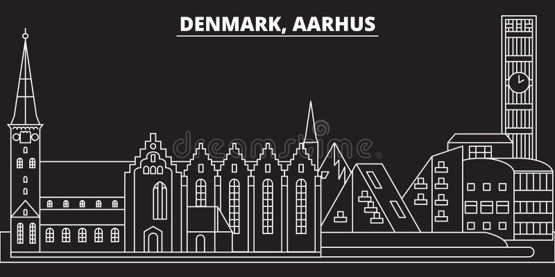 奥尔胡斯剪影地平线 丹麦-奥尔胡斯传染媒介城市,丹麦线性建筑学,大厦 奥尔胡斯旅行 向量例证