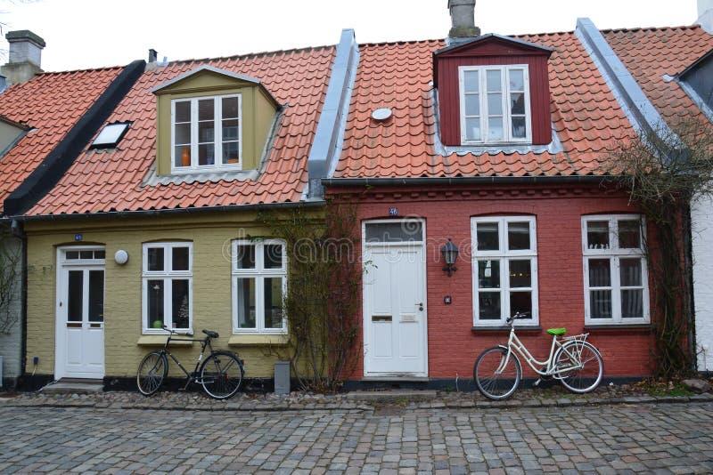 奥尔胡斯老镇在丹麦斯堪的那维亚 免版税库存图片