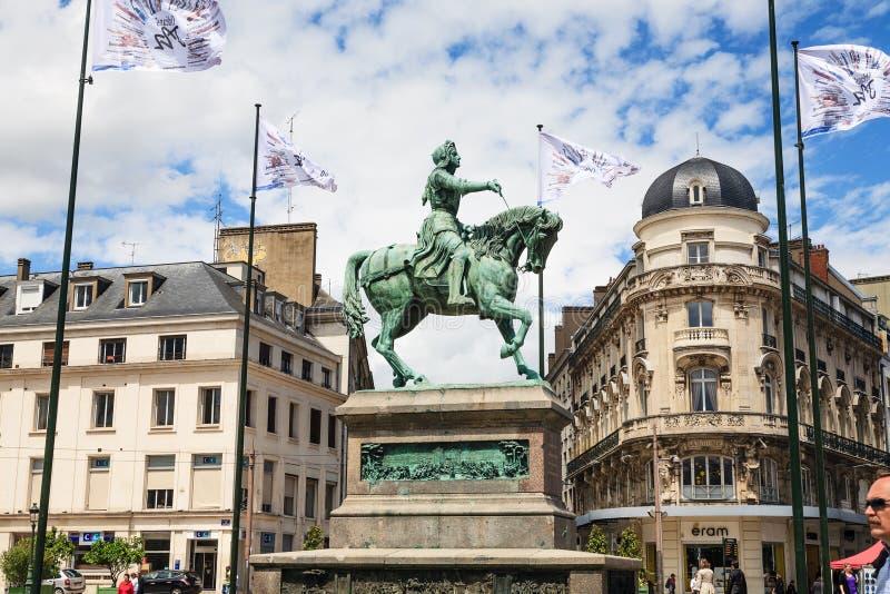 奥尔良雕象Jeanne D'Arc,法国 库存照片