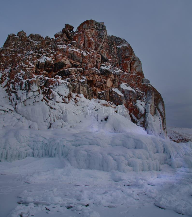 奥尔洪岛在冬天 免版税库存照片