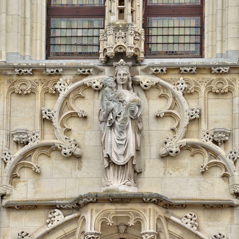 奥德纳尔德,比利时中世纪哥特式市政厅  库存照片