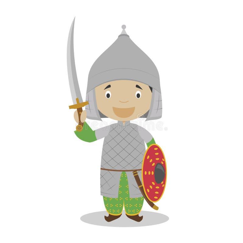 奥托曼战士卡通人物 也corel凹道例证向量 皇族释放例证