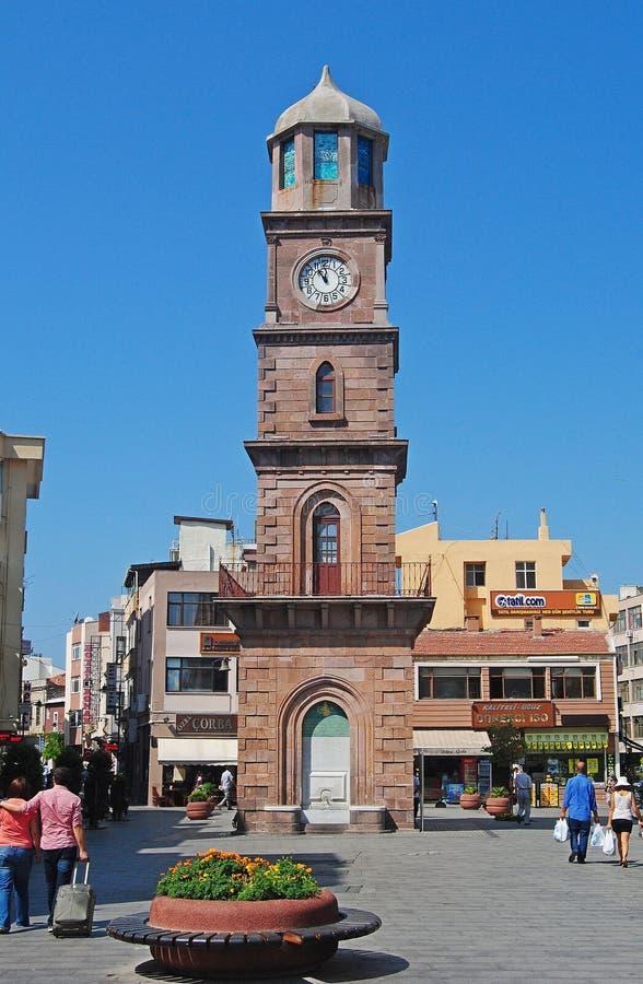 奥托曼钟楼在恰纳卡莱市,土耳其 库存图片